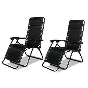 DNY 2 x Textoline Reclining Garden Chair Beach Sun Lounger Recliner Chairs in Black Weatherproof Textoline RRP £199.99