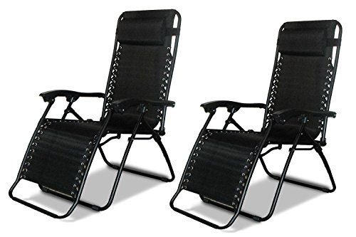 2 x DNY© Textoline Reclining Garden Chair Beach Sun Lounger Recliner Chairs in Tweed Weatherproof Textoline