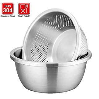 HYTX Stainless Steel 3.5- Quart 2-Pieces Colander Strainer with Container - Rinsing/Washing Pasta, Noodle, Vegetables, Fruits & Dishwasher Safe (Stainless Steel Color)