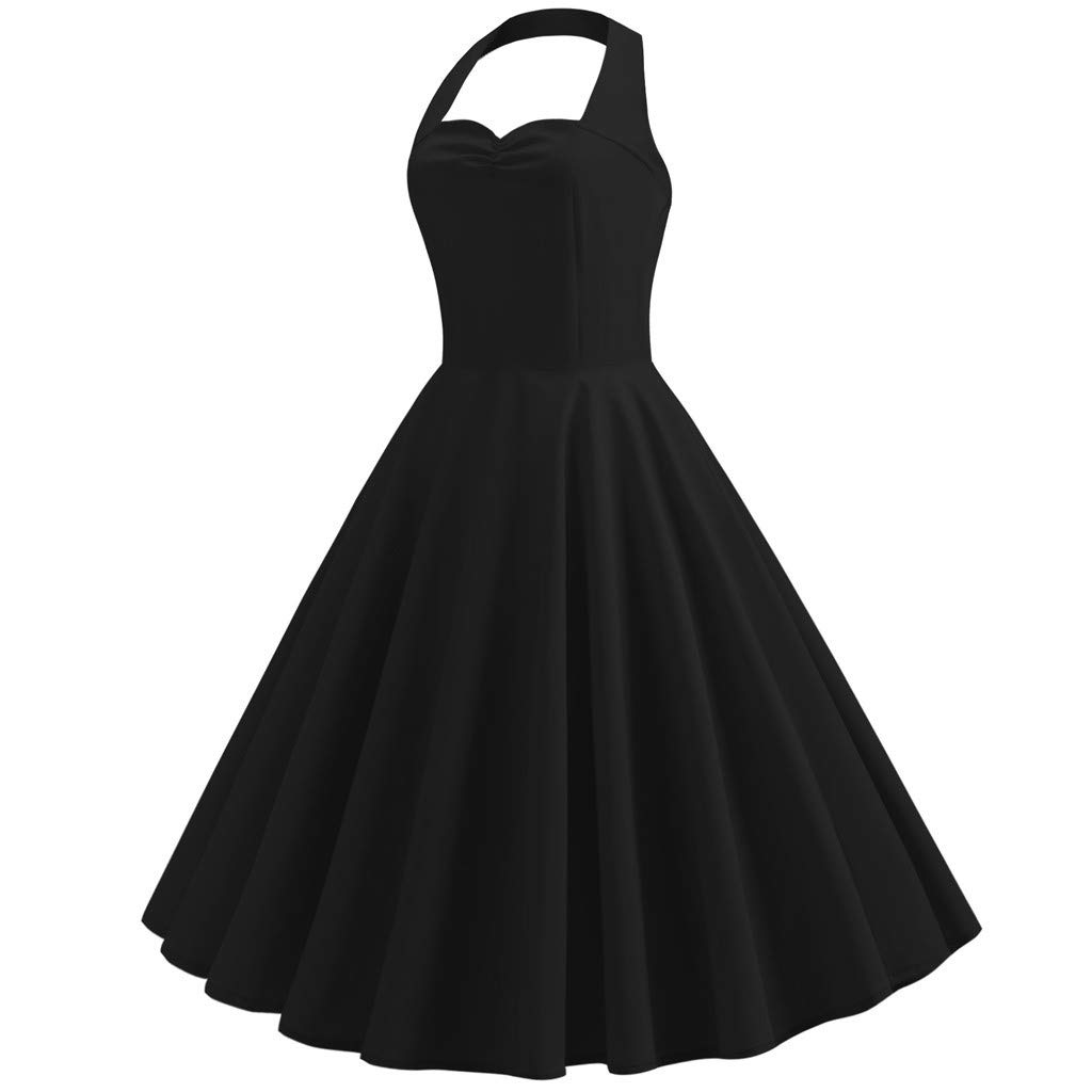 Women's Vintage Polka Halter Dress Solid Sping Retro Rockabilly Cocktail Dress Black