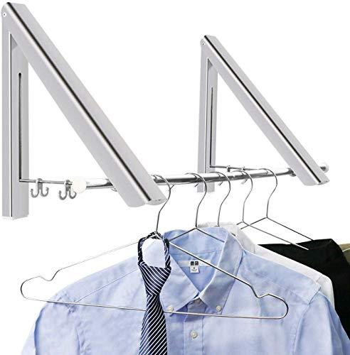 BeGrit Klappbar Wand-Kleiderständer klapphaken Edelstahl Kleiderhaken Platzsparender Kleiderbügel für Wohnzimmer Bad Schlafzimmer Büro (2 Pcs)