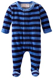 Magnificent Baby Baby-Boys Velour Footie, Midnight/Skyblue, New Born