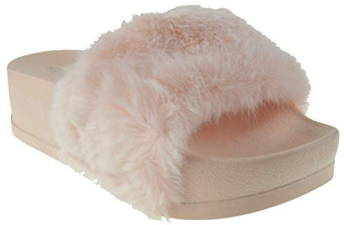 [Lucky 28 Women Faux Fur Softy Elevated Platform Slip On Slider Sandals Pink 6.5] (Lucky Platform Shoes)