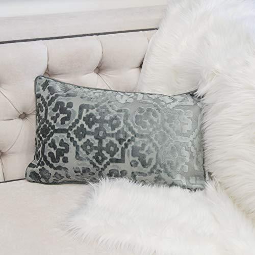 Homey Cozy Modern Velvet Rectangle Throw Pillow Cover,Slate Silver Luxury Soft Fuzzy Cozy Warm Slik Decorative Lumbar Sofa Couch Cushion Case 12x20, Cover Only (Pillow Lumbar Silver)