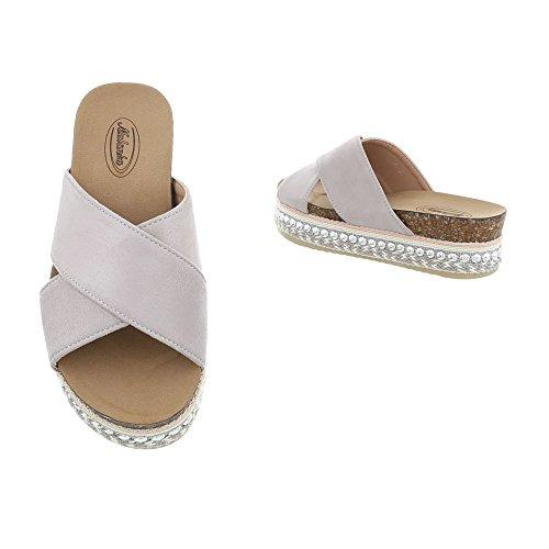 Ital-Design Zapatos Para Mujer Sandalias de Vestir Plano Zuecos gris clair G-79