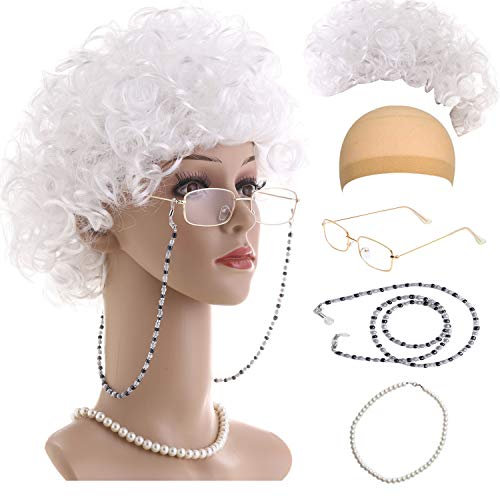 Old Lady Cosplay Set-Grandmother Wig,Wig Caps,Madea Granny Glasses, Eyeglass Retainer Chain,Pearl Necklace(5 Pieces) Fits All (Style-7)