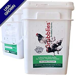 Grubblies - 5 lb. Treat Tank USA-Grown Non-GMO Grubs, 50x More Calcium Than Mealworms - a Daily Nutritious Snack for Chickens - 100% Natural & Oven-Dried for Happy, Healthy Hens 72