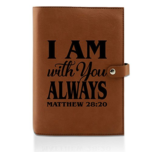 Kate Posh- I am with You Always Matthew 28:20 - Engraved Rawhide Leather Bible Cover, Book & Planner Cover, Christian & Catholic Gifts, Religious Gifts, My First Holy Bible (6