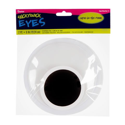 Sickty Back Wiggle Eyes 6 2/Pkg-Glow-In-The-Dark Shop and Gather Darice 4336856446