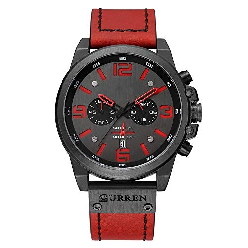 BEWITCHYU  Practical Wristwatches Men 's Watch Sports Six-Hand Quartz Watch Calendar Men' s Watch Belt Watch Plastic Calibration Small Circle Men Decorative Watch BraceletRed