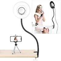 Neewer Dimmable 8-inch Mini LED Ring Light with Flexible Gooseneck, Desk Clamp, 3.5-inch Mirror, Phone Clip, Mini Tripod for Beauty Blog Make Up Selfie Portrait Video Photography(No Carrying Bag)