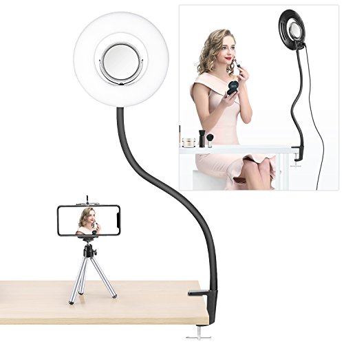 Neewer Dimmable 8-inch Mini LED Ring Light with Flexible Gooseneck, Desk Clamp, 3.5-inch Mirror, Phone Clip, Mini Tripod for Beauty Blog Make Up Selfie Portrait Video Photography(No Carrying Bag) -