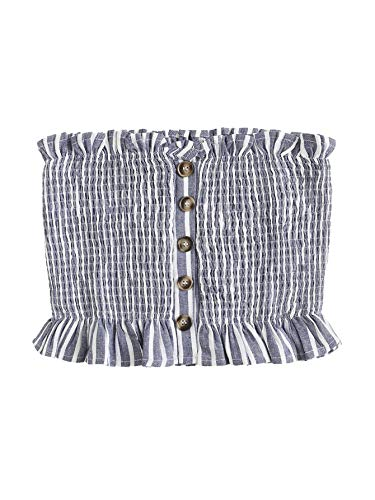 Shein Women's Sexy Button Front Frill Strapless Pleated Bandeau Tube Summer Crop Tops