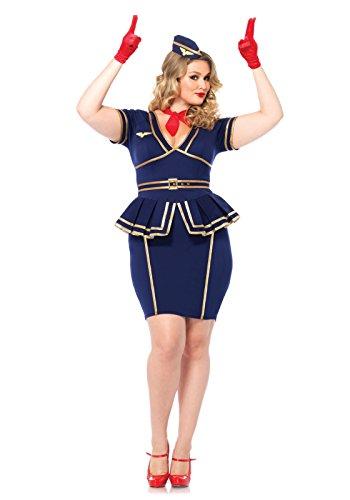 leg avenue womens plus size 3 piece friendly skies flight attendant costume blue 3x4x - Cheap Plus Size Halloween Costumes 4x