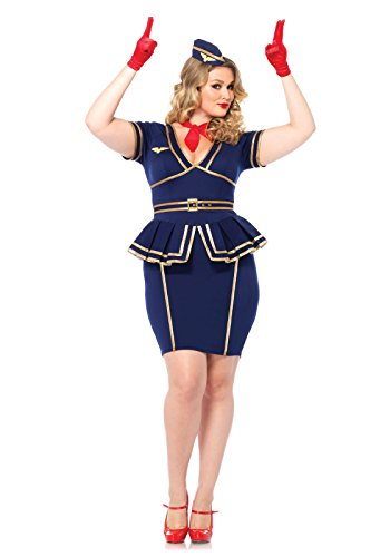 [Leg Avenue Women's Plus-Size 3 Piece Friendly Skies Flight Attendant Costume, Blue, 1X/2X] (Womens Plus Halloween Costumes)