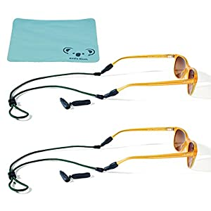 Croakies Terra System Rope Eyewear Retainer Sunglass Strap | Large and XL Combo End | Adjustable Eyeglass & Sports Glasses Holder Keeper Lanyard | 2pk Bundle + Cloth, Green