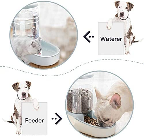 UniqueFit - Comedero automático para Mascotas, Gatos, Perros y Gatos, 3,8 l, con 1 dispensador de Agua y 1 alimentador automático para Mascotas 4