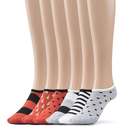 Women's H No Show Socks Patterned Cushioned Foot Liners 6 Per Pack By Silky Toes (Grey/Rust, 9-11)