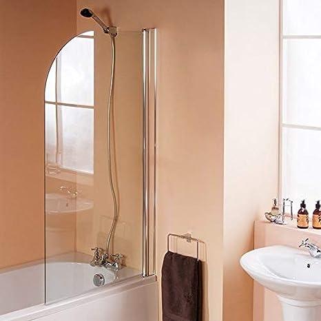 Mampara de ducha curvada recta con bisagras, 1400 mm x 800 mm, 6 mm, cristal endurecido, reversible, acabado cromado: Amazon.es: Bricolaje y herramientas