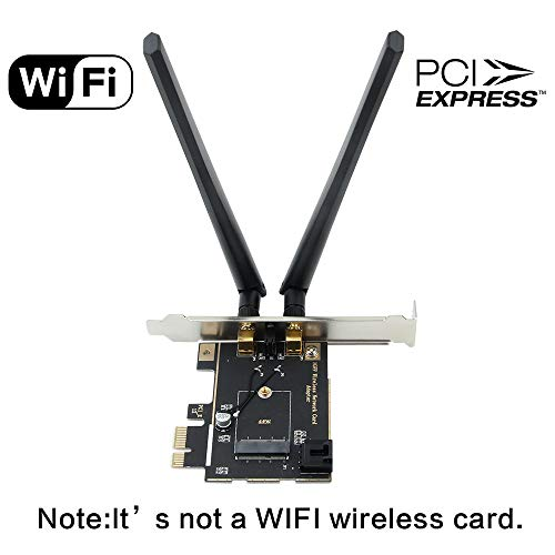 fenvi Desktop Wireless Network M.2(NGFF) WiFi Card to PCIe 1X Adapter Converter(Converter only!!Not Including WiFi Card) Compact Intel 7260 8260 3160 9260 AX200 Killer WiFi 6 AX1650 NGFF M.2 Key A+E from Fenvi