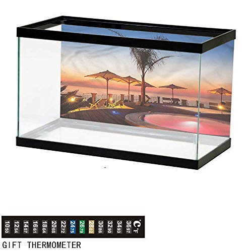 Ocean Tom Drum - bybyhome Fish Tank Backdrop Landscape,Ocean View at Sunset,Aquarium Background,48