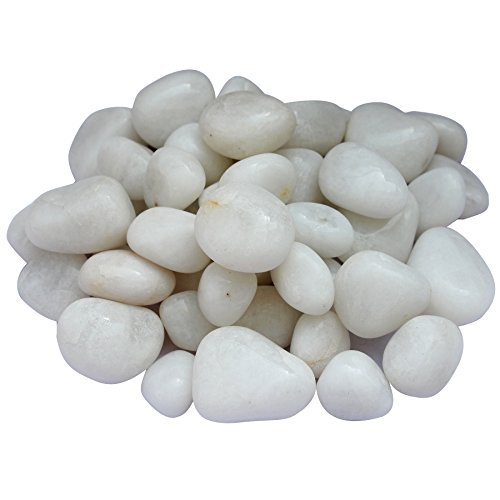ITOS365 Pebbles Glossy Home Decorative Vase Fillers White Stone, 1 KG by ITOS365