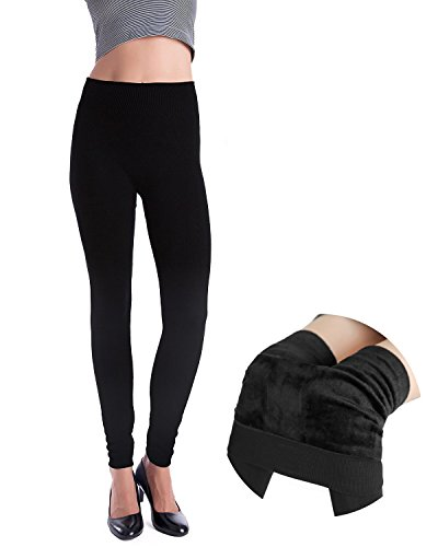 DCOIKO Women's Slim Trousers Elastic Waist Stretch Pants Winter Thick Warm Leggings (One Size, (Black Velvet Trousers)