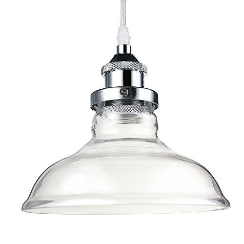 Glighone Vintage Glass Pendant Light Ceiling Lamp Shade Industrial Kitchen  Pendant Lights Glass Shade Silver Lamp