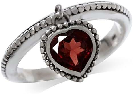 Dangle Natural Heart Shape Garnet 925 Sterling Silver Stack/Stackable Ring