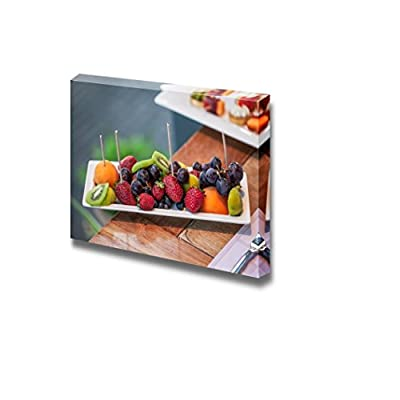 Canvas Prints Wall Art - Plate Filled with Peaches, Kiwi, Red Grapes and Strawberries | Modern Wall Decor/Home Decoration Stretched Gallery Canvas Wrap Giclee Print & Ready to Hang - 16