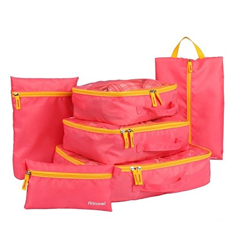 Clothes Travel Luggage Organizer Pouch (Peach) Set of 6 - 3