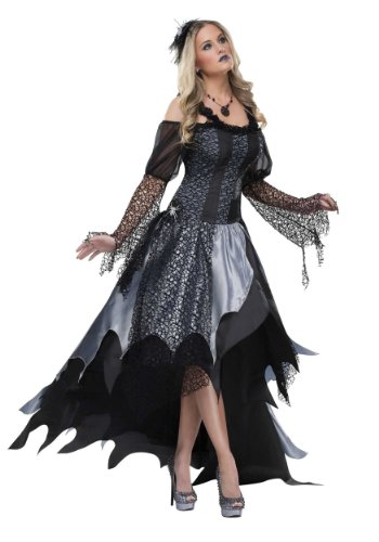 Funworld Womens Widow Spider Queen Layered Elegant Gown Dress Fancy Costume, Small (4-6)