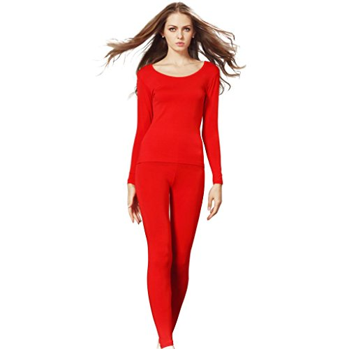 Liang Rou Women's Scoop Neck Long Johns Ultra Thin Thermal Underwear Set Red M -