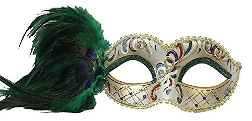 Hagora, Women's Elegant Party Masquerade With Peacock Feathers