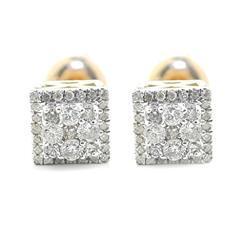 10K Gold Diamond Earrings 0.40ctw Screw Back Fashion Stud Earrings for Men or Women 7mm (i2/3, I/j) (Kc Designs Diamond Stud)