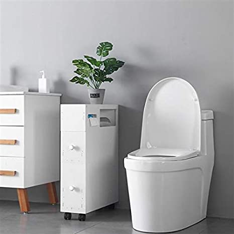 White Narrow Wood Bathroom Floor Storage Cabinet With 4 Slide Out Wheels 2 Drawers Rolling Corner Bathroom Cabinet With Newspaper Magazine Tissue Holder Free Standing Toilet Organizer Storage Shelves Home Kitchen