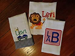 Baby Boy Monogram Burp Cloths Personaliz...