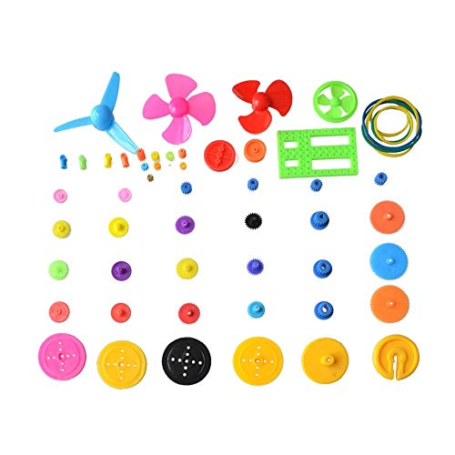 Zamtac 55 Pcs Colorful Different Type Mini Plastic Gear Plastic Bearing Gear Set DIY Reduction Gearbox for Toy car 0.4 Modulus