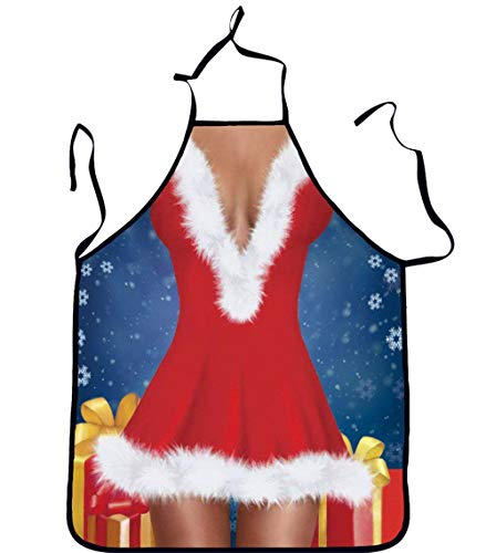 (CHICHIC Christmas Apron Funny Aprons Sexy Apron for Couples Kitchen Cooking BBQ Xmas Party Apron Cooking Baking Pottery and Grilling Helper Christmas Creative Gift Men Lady Chef Waitress Apron (Skirt))