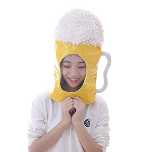 HYYER Plush Beer Mug Hat Head Cover Mask Headgear Hood Hat Caps Halloween Novelty Party Dress up Cosplay Oktoberfest -