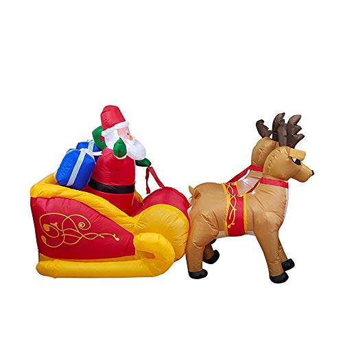 ALEKO CHID002 Inflatable Santa in a Gift Stuffed Sleigh Led by Reindeer with a UL Certified Blower Holiday Christmas 7 Foot -