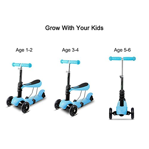 3-Wheel Mini Kick Scooter with Adjustable Handle T-Bar and Seat for child, LED Flashing Wheels (blue)