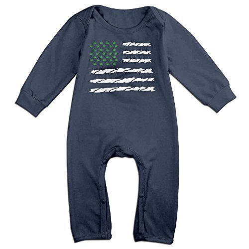 Baby Infant Romper USA Weed American Flag Long Sleeve Jumpsuit Costume Navy 6 M