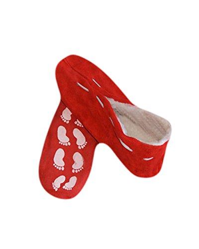Pantuflas unisex, antideslizantes, piel, en distintos colores y números 35-52 Rojo
