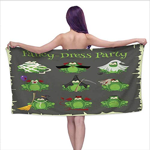 Ediyuneth Sauna Towel Halloween Green Toads Fashion Costume Outfits Cartoon Style Vector Illustration Isolated on White Background,W10 xL39 for Baby Girl ()