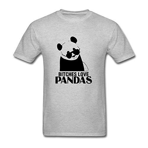 Xitei Men's Summer bitches-love-pandas Short Sleeve T-shirt Grey M