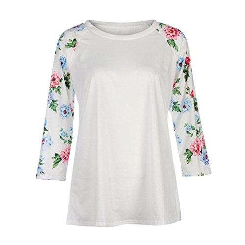 Tefamore Mujeres Tops de tallas largas O-cuello de manga larga blusa de camisa de impresión floral, Plus Tamaño Blanco
