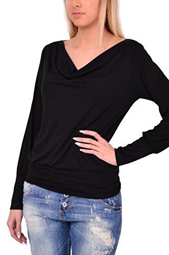 Made in Italy Maglia Nera Jersey Morbida Viscosa Abbigliamento Moda Donna