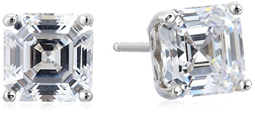 Platinum Plated Sterling Silver Asscher-Cut Stud Earrings made with Swarovski Zirconia (Stud Asscher Earrings)