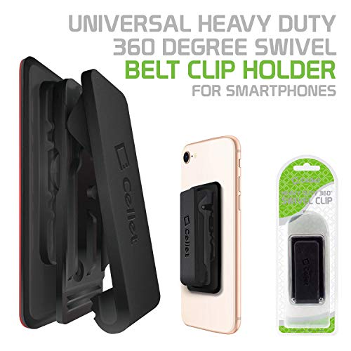 - Cellet CLIPHDBK Universal Heavy Duty 360 Degree Swivel Belt Clip Holder for Smartphones - Black